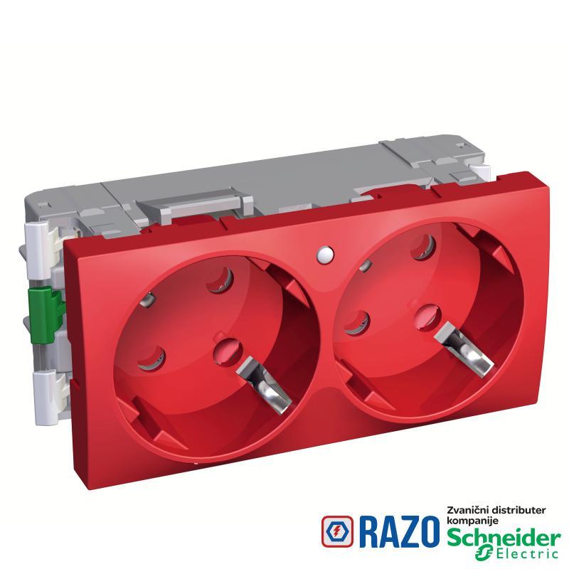 Altira - 2 utičnice - 2P+E - zaštita- uzemljenje sa strane - lampica -crvena