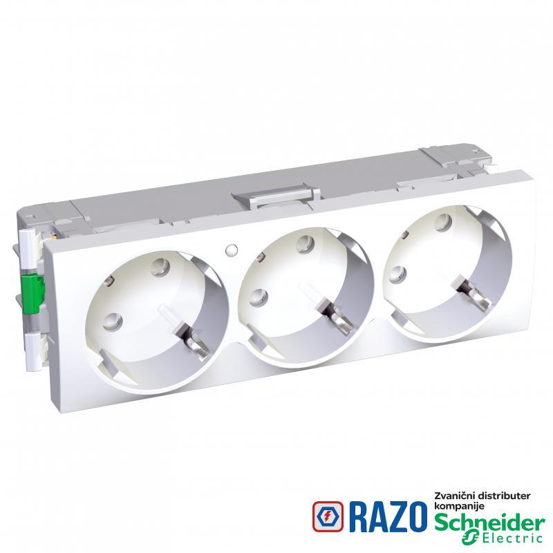 Altira - 3 utičnice - 2P+E sa zaštitom - uzemljenje sa strane - lampica - bela