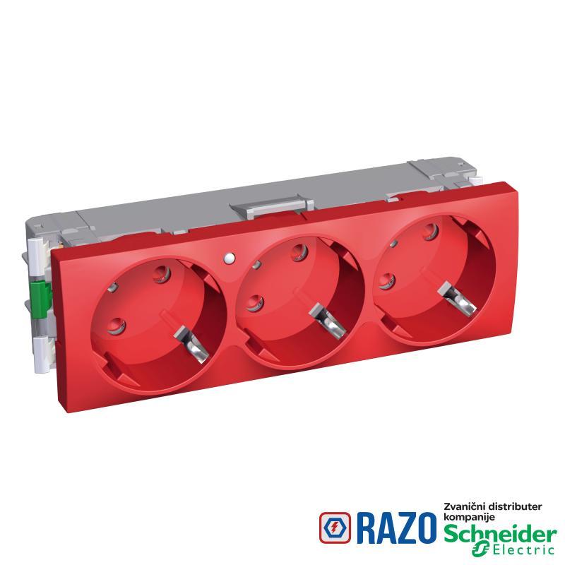 Altira - 3 utičnice - 2P+E sa zaštitom - uzemljenje sa strane - lampica - crvena