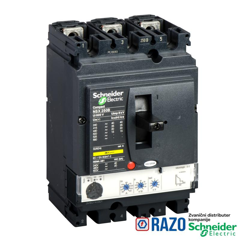 prekidač Compact NSX250N - Micrologic 2.2 - 250 A - 3P 3d