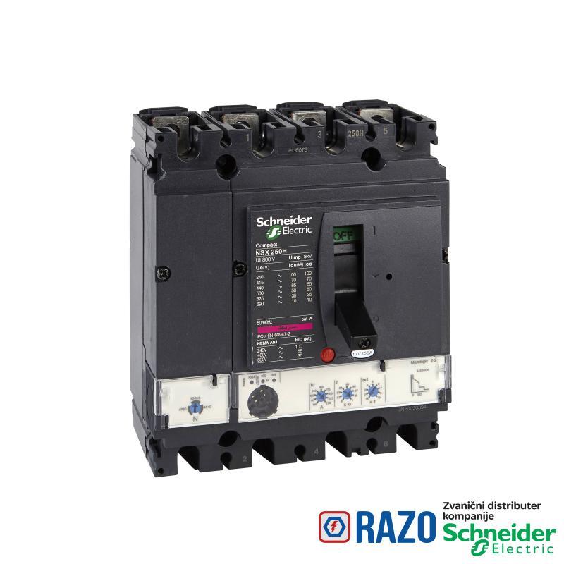 prekidač Compact NSX250N - Micrologic 2.2 - 250 A - 4P 4d