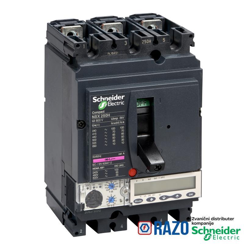 prekidač Compact NSX250N - Micrologic 5.2 A - 100 A - 3P 3d