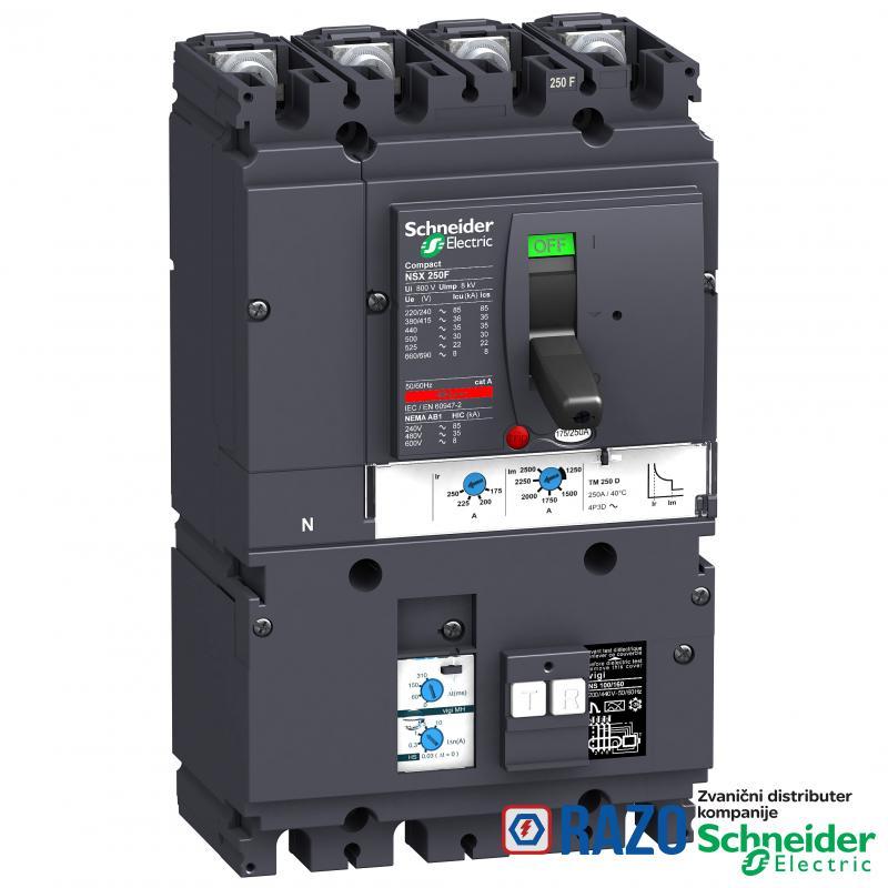 prekidač VigiCompact MH NSX250B - TMD - 200A - 4P 3d