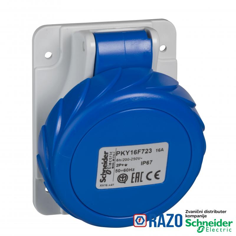 PratiKa utičnica - brza - pod uglom - 16A - 2P + E - 200...250 V AC - panel