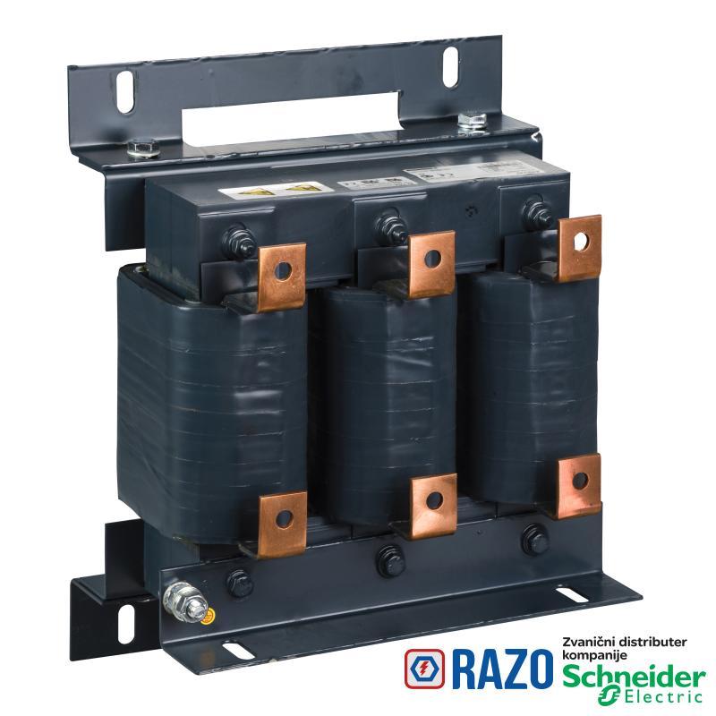 linijska prigušnica-0.12 mH - 222 A -trofazna - 278 W - za frekventne regulatore