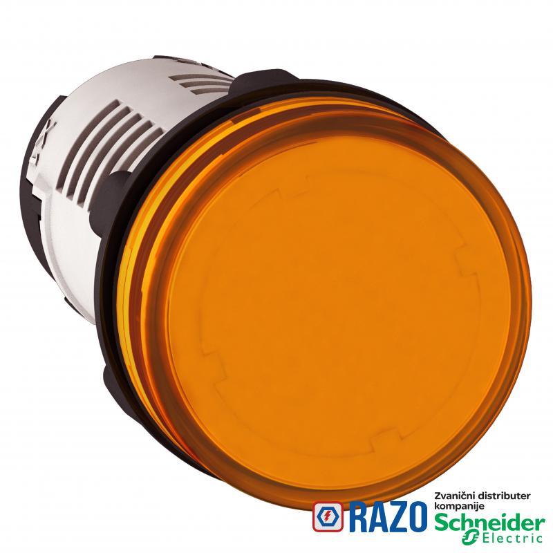 signalna lampica Ø 22 - narandžasta -integrisan LED - 120 V - vijčani priključak